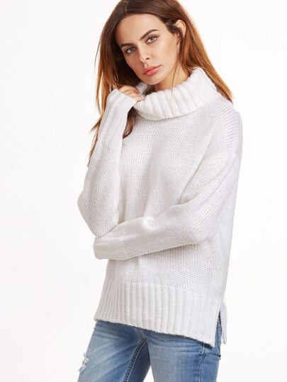 White Turtleneck Drop Shoulder Slit Sweater