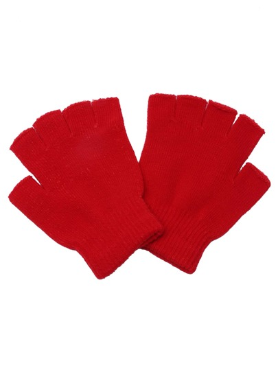 Red Plain Knit Textured Fingerless Gloves
