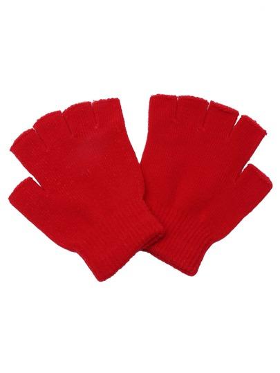 Gants tricoté avec doigt écossais - rouge