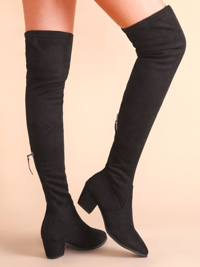 Black Point Toe Chunky Heel Thigh High Suede Boots