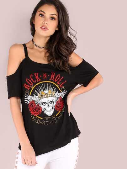 T-Shirt Con Grafica Di Cranio Spalle Fredde - Nero