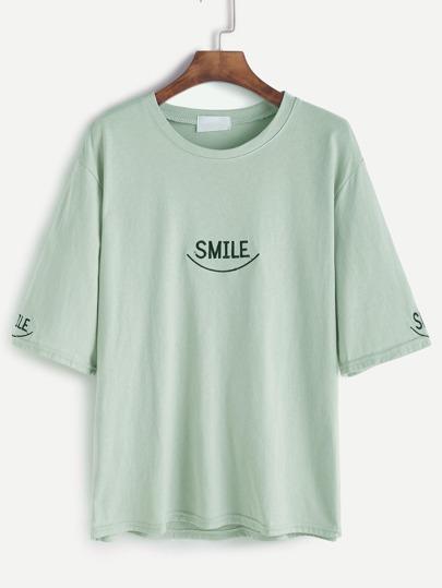Camiseta con mangas al codo y bordado de letras - verde claro