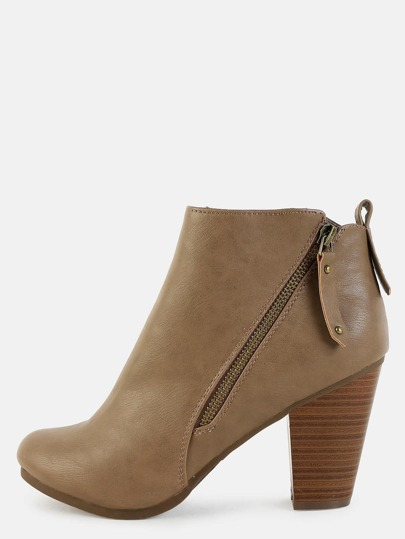 Almond Toe Ankle Booties TAUPE
