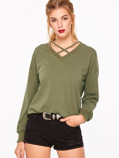 Army Green Criss Cross V Neck Drop Shoulder Sweatshirt