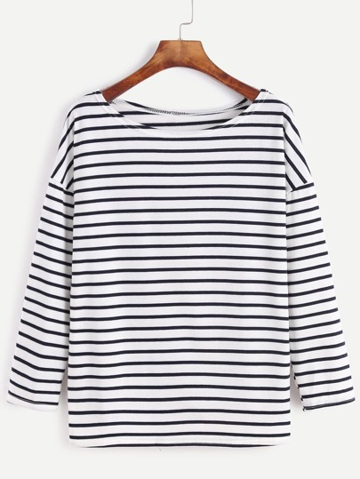 Striped Dropped Shoulder Seam T-shirt