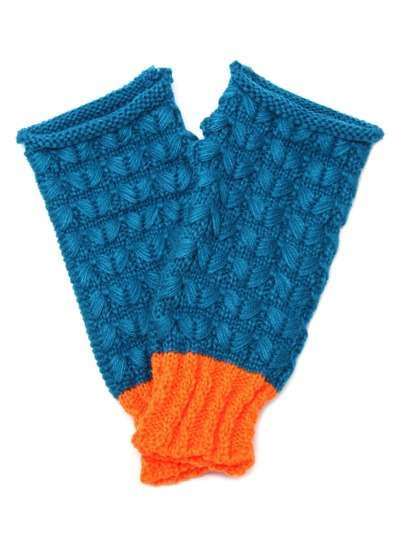 Blue And Orange Knit Thermal Long Fingerless Gloves
