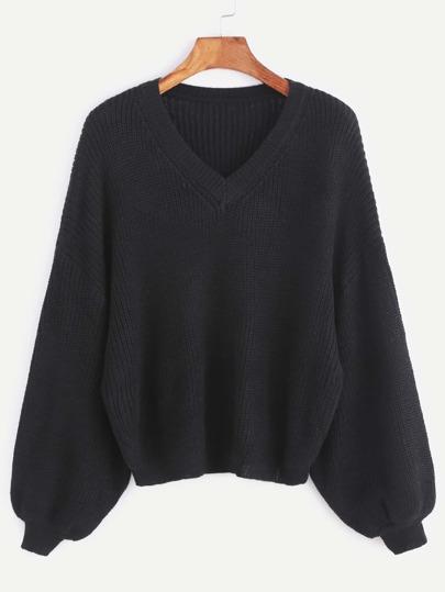 Black V Neck Drop Shoulder Lantern Sleeve Sweater