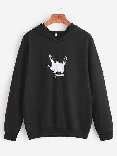 Black Hooded Gesture Print Sweatshirt