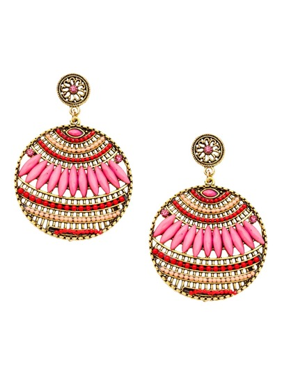 Pink Round Vintage Hollow Out Statement Drop Earrings