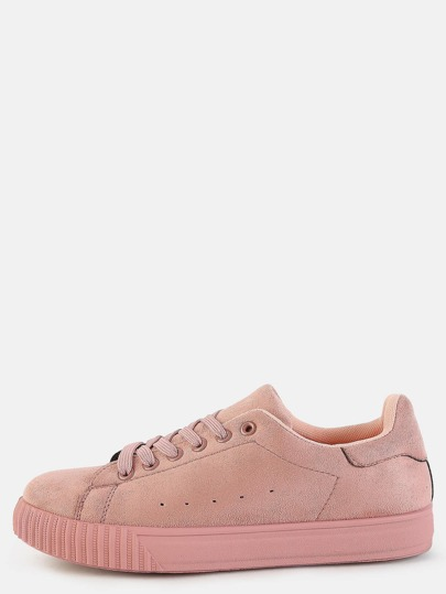 Pastel Round Toe Suede Sneakers MAUVE