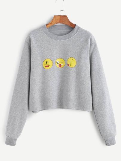 Grey Emoji Print Raw Hem Crop Sweatshirt