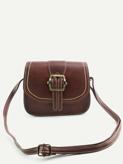Vintage Brown Buckled PU Topstitch Shoulder Bag
