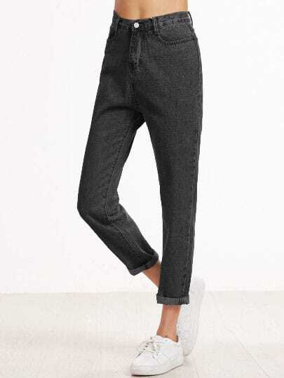 Black Cuffed Straight Leg Jeans