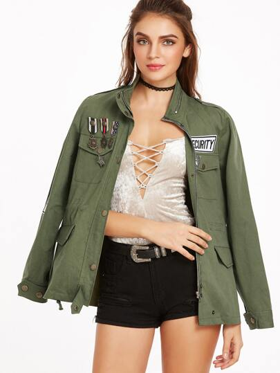 Olive Green Drawstring Waist Utility Jacket With Medals