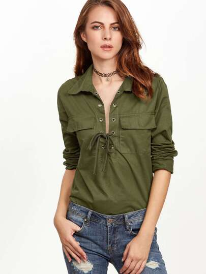 Army Green Eyelet Lace Up Pockets Blouse