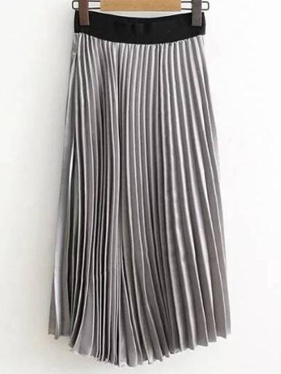 Jupe plissé taille élastique -gris