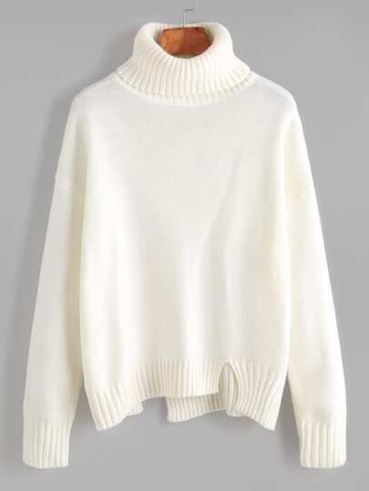 Pullover Rollkragen Drop Schulter Asymmetrischem Saum-weiß
