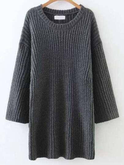 Dark Grey Round Neck Drop Shoulder Sweater Dress