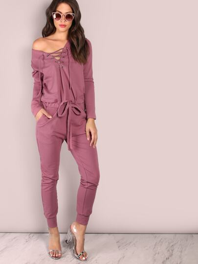 Slouchy Lace Up Cotton Jumpsuit PURPLE