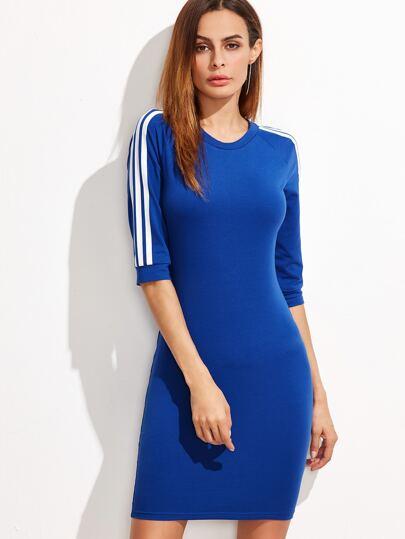 فستانياقةمستديرةكممتوسط-أزرق