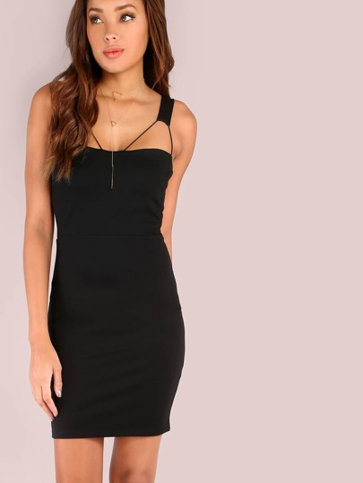 Cord Bust Peep Bodycon Mini Dress BLACK