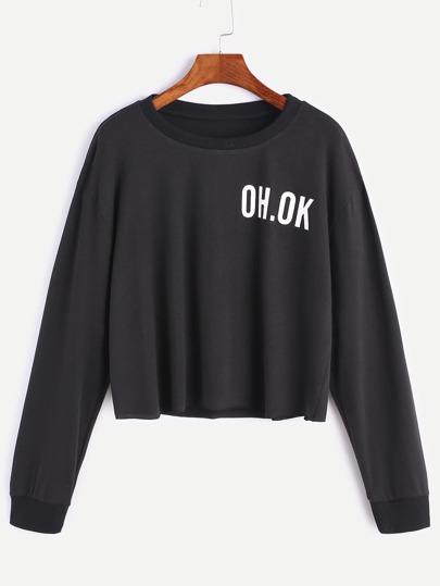 Black Drop Shoulder Letter Print Raw Hem Crop Sweatshirt