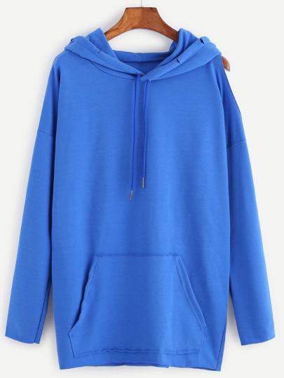 Blue Open One Shoulder  Pocket Front Hooded Sweatshirt