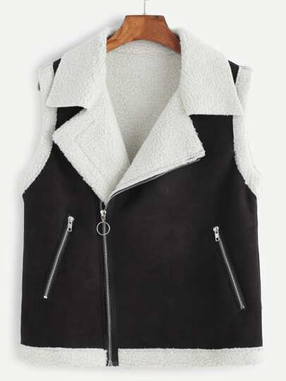 Black Oblique Zipper Shearling Vest