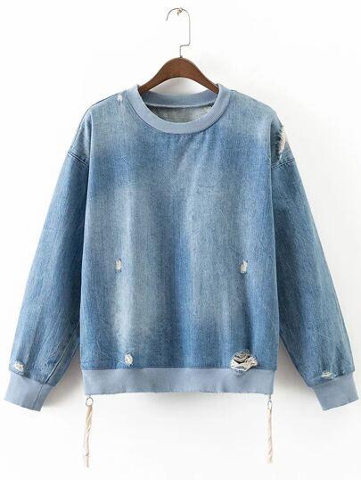 Blue Ripped Side Zipper Denim Sweatshirt