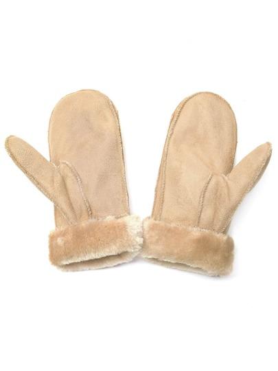 Абрикосные толстые меховые перчатки