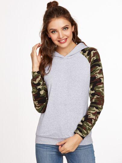Heather Grey Camo Raglan Sleeve Sweatshirt