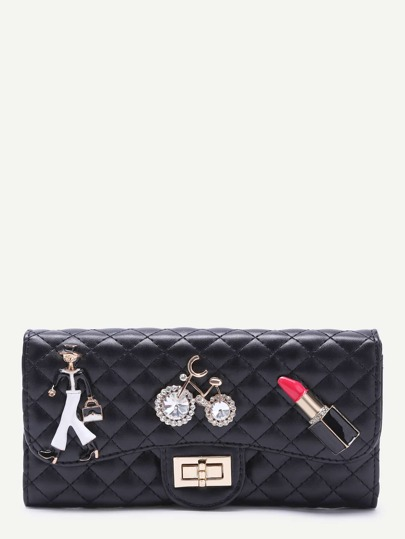Black Metallic Embellished Rhinestone Quilted Long Wallet