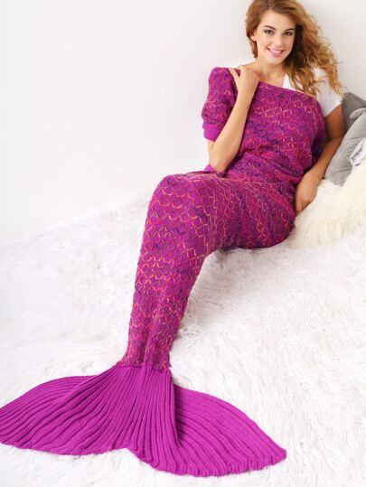 Manta de punto con diseño de sirena - rosa