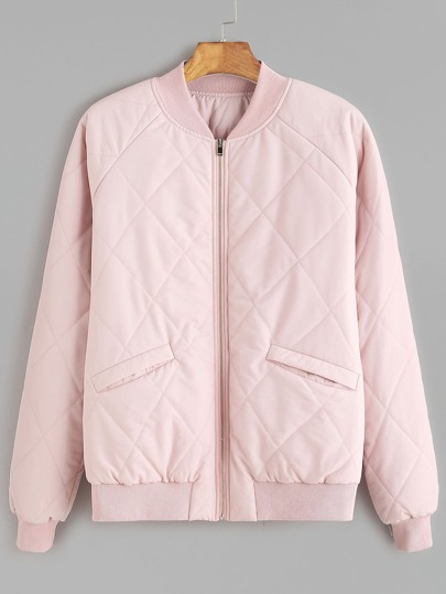 Pink Zipper Up Raglan Sleeve Quilted Jacket