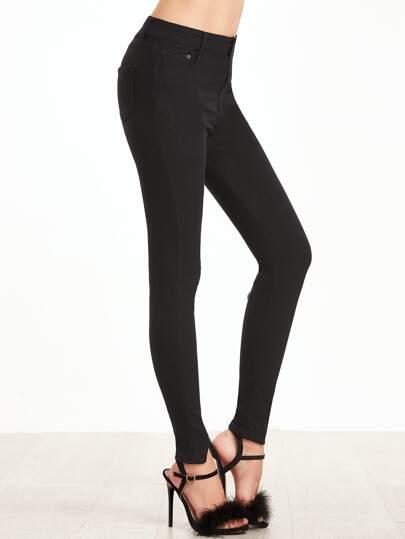 Black Split Front Skinny Pants