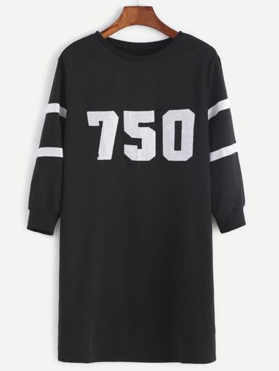 Vestido estilo sudadera con detalle de lentejuelas - negro