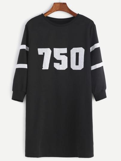 Black Sequin Detail Varsity Sweatshirt Dress