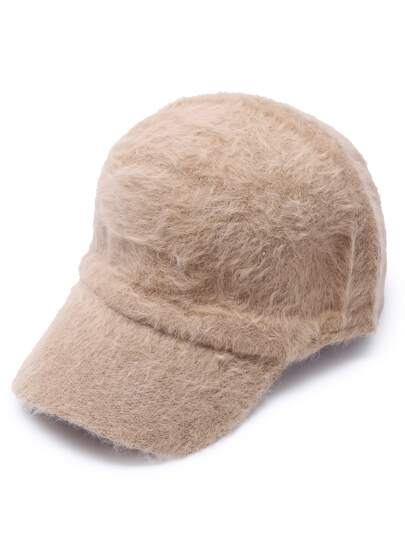 Khaki Fluffy Thermal Casual Baseball Cap
