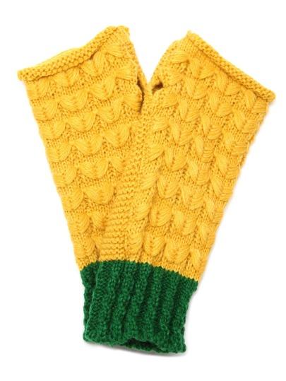 Жёлто-зелёные вязаные длинные перчатки без пальцев
