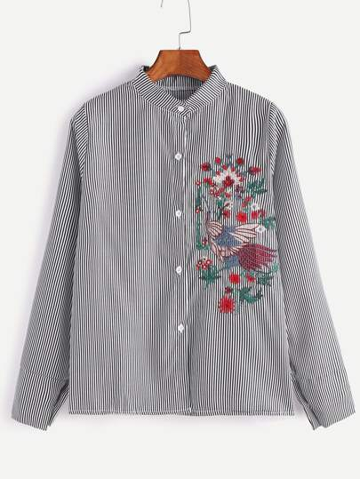 Black Vertical Striped Embroidered Shirt