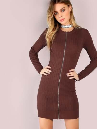 Front Zip Knit Mini Dress BROWN
