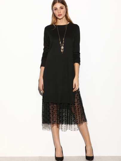 Black Contrast Mesh Slit Side 2 In 1 Dress