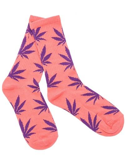 Pink Hemp Fimble Leaf Ribbed Cuff Crew Socks