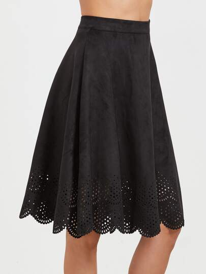 Black Faux Suede Laser Cutout Midi Skirt