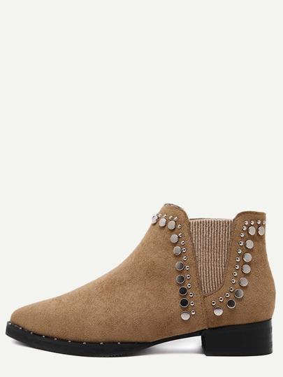 коричневые замшевые ботинки с металлом