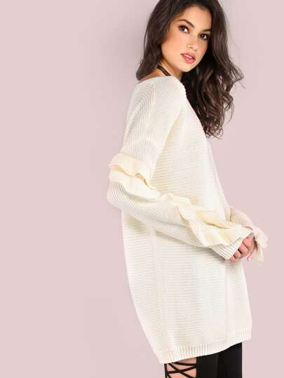 Long Sleeve Frill Knit Sweater IVORY