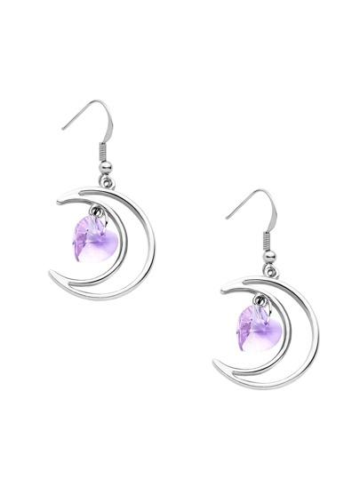 Silver Plated Purple Heart Hollow Moon Drop Earrings