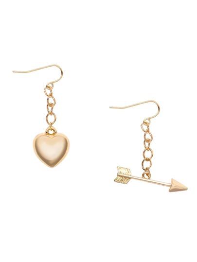 Gold Plated Arrow and Heart Asymmetric Stud Earrings
