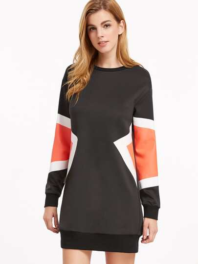 Color Block Drop Shoulder Sweatshirt Dress