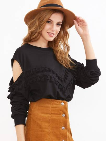 Black Tassel Trim Open Shoulder Sweatshirt
